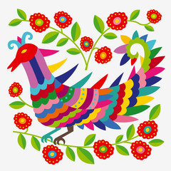 Mexican colorful and ornate ethnic pattern. Embroidery with birds and flowers on the light background.