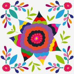 Mexican colorful and ornate ethnic pattern. Embroidery with flowers on the light background.