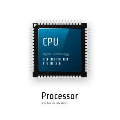 CPU. Microchip processor on white background. Vector illustration