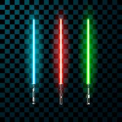 Set of realistic light swords. Vector illustration