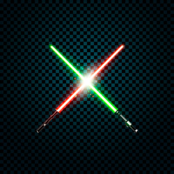 realistic light swords. crossed lightsabers, flash and sparkles. Vector illustration isolated on transparent background