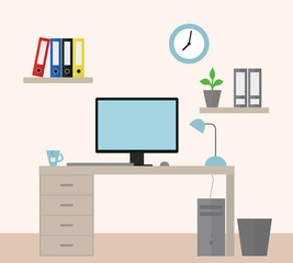 Vector illustration of an office with equipment as a job for a manager - flat