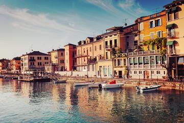 Morning in Peschiera del Garda, Italy, pastel retro toned