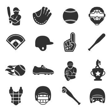 Baseball and softball icon set, isolated vector monochrome illustration