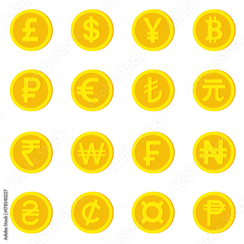 World Currency Icons Money And Currency Symbol Pound Dollar Yuan