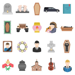 Funeral, icon collection. Isolated illustration on subject burial, cremation, etc