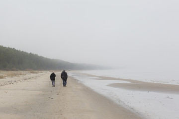 , In the fog. Autumn morning. Mist fell on the beach, all concealed gloomy haze. All lost the contours and shape.