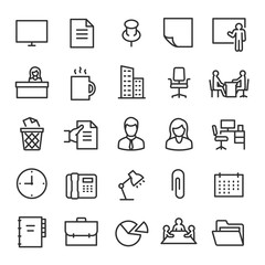 Office, icon set. Collection of icons on the theme of work and business. Workplace attributes. Lines with editable stroke. Isolated vector