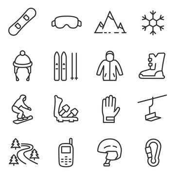Snowboarding and skiing icon set. Linear icons on the theme of ride a snowboard and skiing. Accessories, things. Line with editable stroke