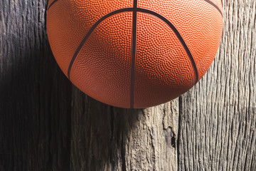 Basketball on very old wood.