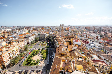 Top cityscape view on the old town with Reina main square in Valencia city during the sunny day in Spain