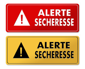 Drought Alert warning panels in French translation