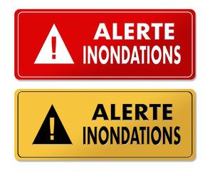 Flood Alert warning panels in French translation