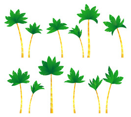 Set tropical palm trees .