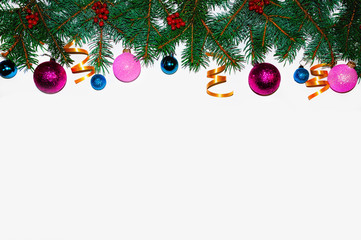 Christmas background. .Christmas frame made of fir branches. New Year's toys. Christmas wallpapers. Flat, top view. Merry christmas card. Winter holiday theme. Happy New Year. Space for text