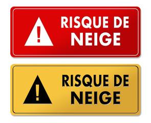 Snowfall Risk warning panels in French translation