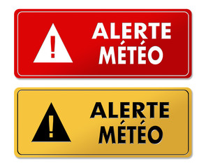 Weather Alert warning panels in French translation