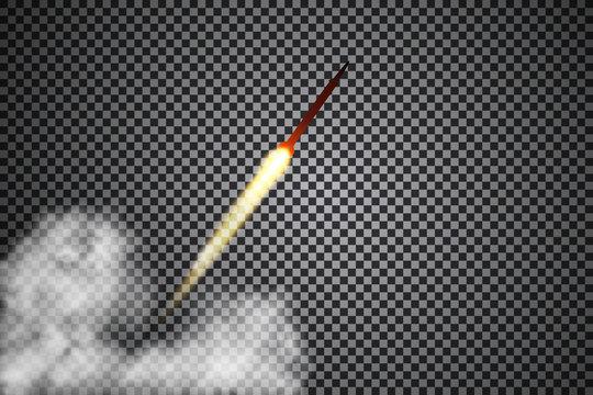 Missiles on a transparent background, smoke, vector illustration.