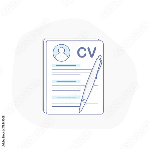 cv icon concept curriculum vitae resume symbol document and pen flat outline