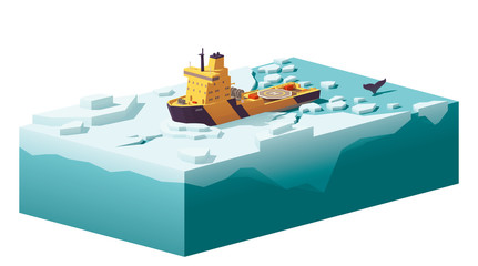 Vector low poly icebreaker breaking the ice