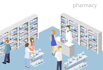 Isometric interior of pharmacy. Flat 3D infographic illustration