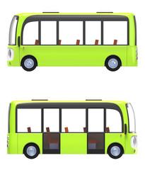 modern cartoon bus green side