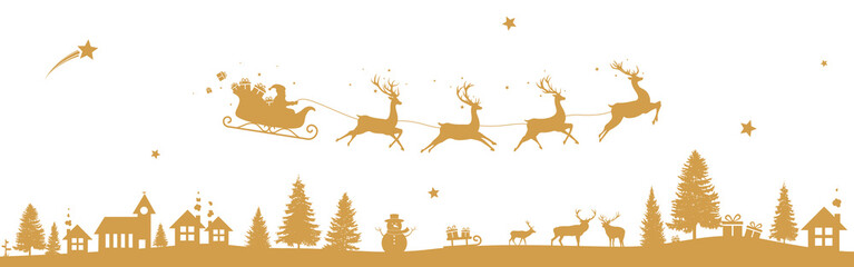 Christmas landscape with flying sleigh