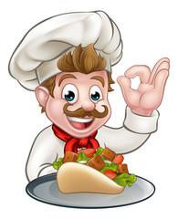 Cartoon Chef with Kebab