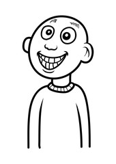 A bald guy smiling. Cartoon vector illustration in black and white