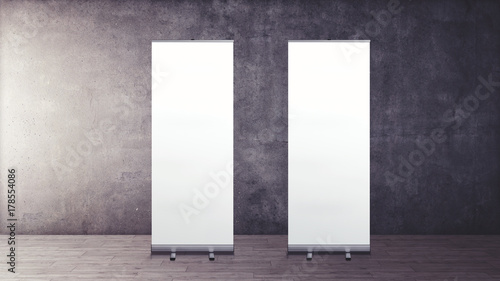 Exhibition Stand Roll Up : Exhibition stand d rendering with two roll up stock photo