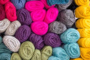 Colorful hand spun wool