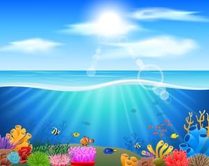 Cartoon underwater world with fish, plants. Vector illustration