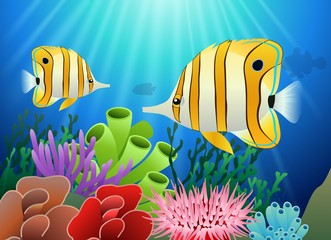 Aquarium with fish and corals. Marine aquarium. Vector illustration