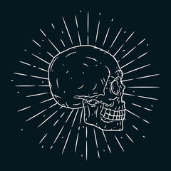 Hand drawn vector illustration with human skull on blackboard. Used for poster, banner, t-shirt print, bag print, badges and logo design.