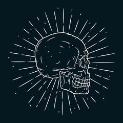 Hand drawn vector illustration with human skull on blackboard. Used for poster, banner, t-shirt print, bag print, badges and logo design.