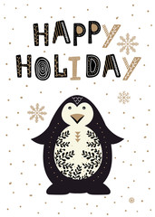 Chrismas card in scandinavian style. Pinguin