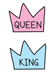 King and Queen crowns, flat vector cartoon illustration doodle drawing, baby pink and blue crowns with writing inside, crown vector drawing.