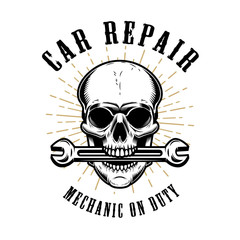 Car repair. Human skull with wrench in mouth.