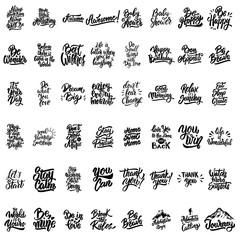 Big set of hand lettering motivational isolated quotes.