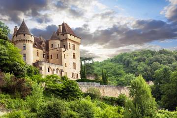 Le château de La Roque Gageac vu depuis la Dordogne. Dordogne. Nouvelle Aquitaine