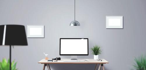 Computer display and office tools on desk. Mockup Scene Creator