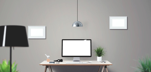 Computer display and office tools on desk. Mockup Scene Creator