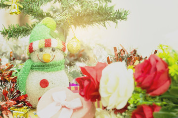 Happy Christmas and Happy New Year. Snow Dolls and Accessories Decorate with a happy atmosphere.