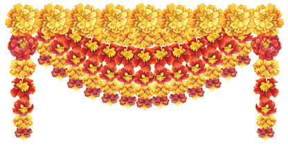 Garland, frame with a flowers Tagetes patula, the French marigold (Tagetes erecta, Mexican marigold). Red, yellow marigold. Watercolor painting illustration isolated on white background.