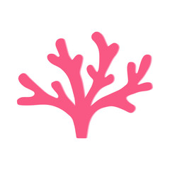 Coral vector illustration doodle drawing, isolated marine coral plant in pink color.