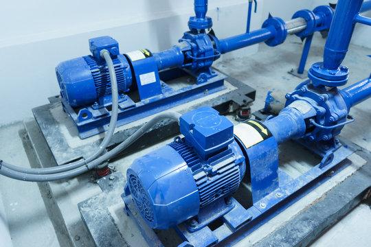 Blue Water pump on floor