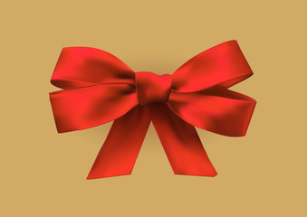 Vector realistic red bow made of ribbons on beige background.