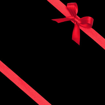 Red Gift Wrap Ribbons for Christmas, isolated