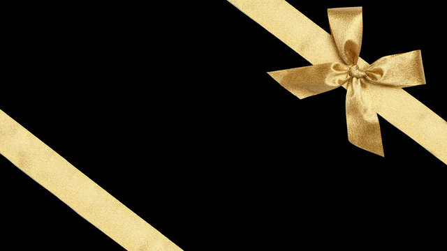 Golden Gift Wrap Ribbons for Christmas, isolated