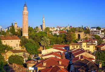 Old Town of Antalya, Turkey, with Yivli Minaret and Clock Tower